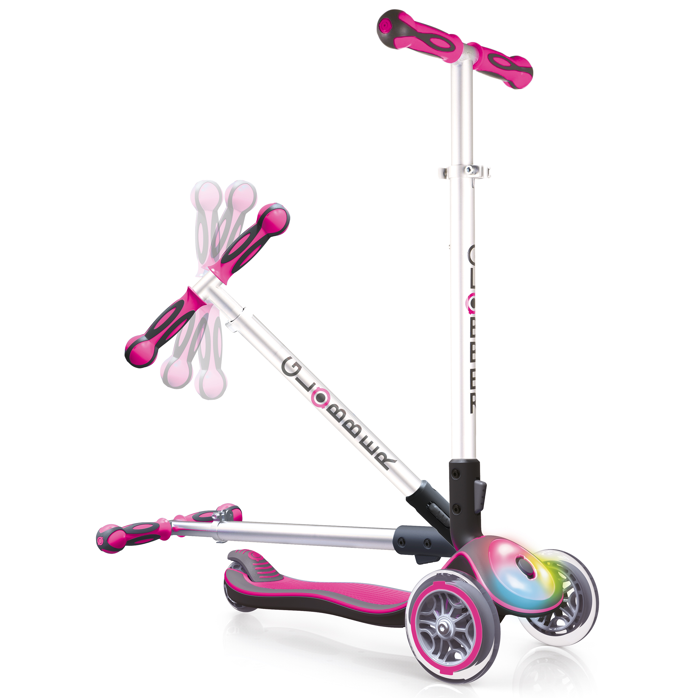 Globber Elite 3 Wheel Folding Adjustable Height Scooter with LED Lights (Pink) by Globber Scooters