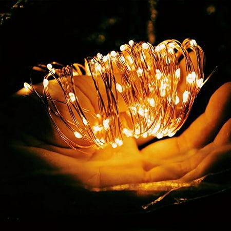 Solar LED Copper Wire Light,Goodia 33ft 120 LEDs String Lights for ...