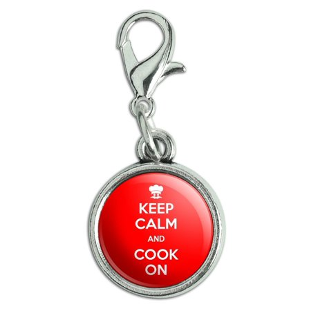 Keep Calm And Cook On Chef Hat Antiqued Bracelet Pendant Zipper Pull Charm with Lobster Clasp - Lobster Chef