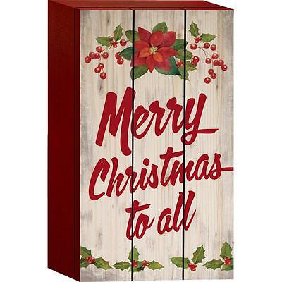 MERRY CHRISTMAS TO ALL Distressed Wood Box Sign, 4.5