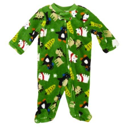 Little Wonders Infant Boys Green Plush Winter Animals Blanket Sleeper