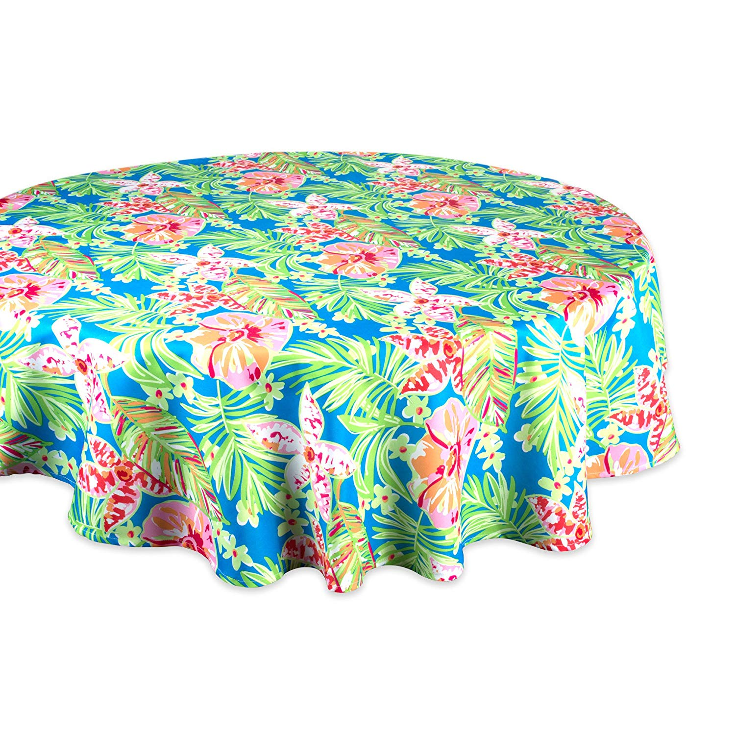 "DII Summer Floral Outdoor Round Tablecloth, 60"" Round, 100% Polyester, Multiple Sizes"