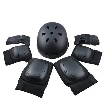 Sport Safety Protective Gear Elbow Wrist Knee Pads and Helmet Guard for Kids Adult Skateboard Skating Riding 7Pcs Set - Black M (Skate Boarding Helmets)