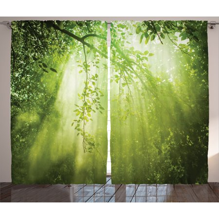 Scenery Decor Curtains 2 Panels Set, Rays of Sun Light Deep Dark in the Forest in Foliage with Dynamic Effects Decor, Window Drapes for Living Room Bedroom, 108W X 90L -