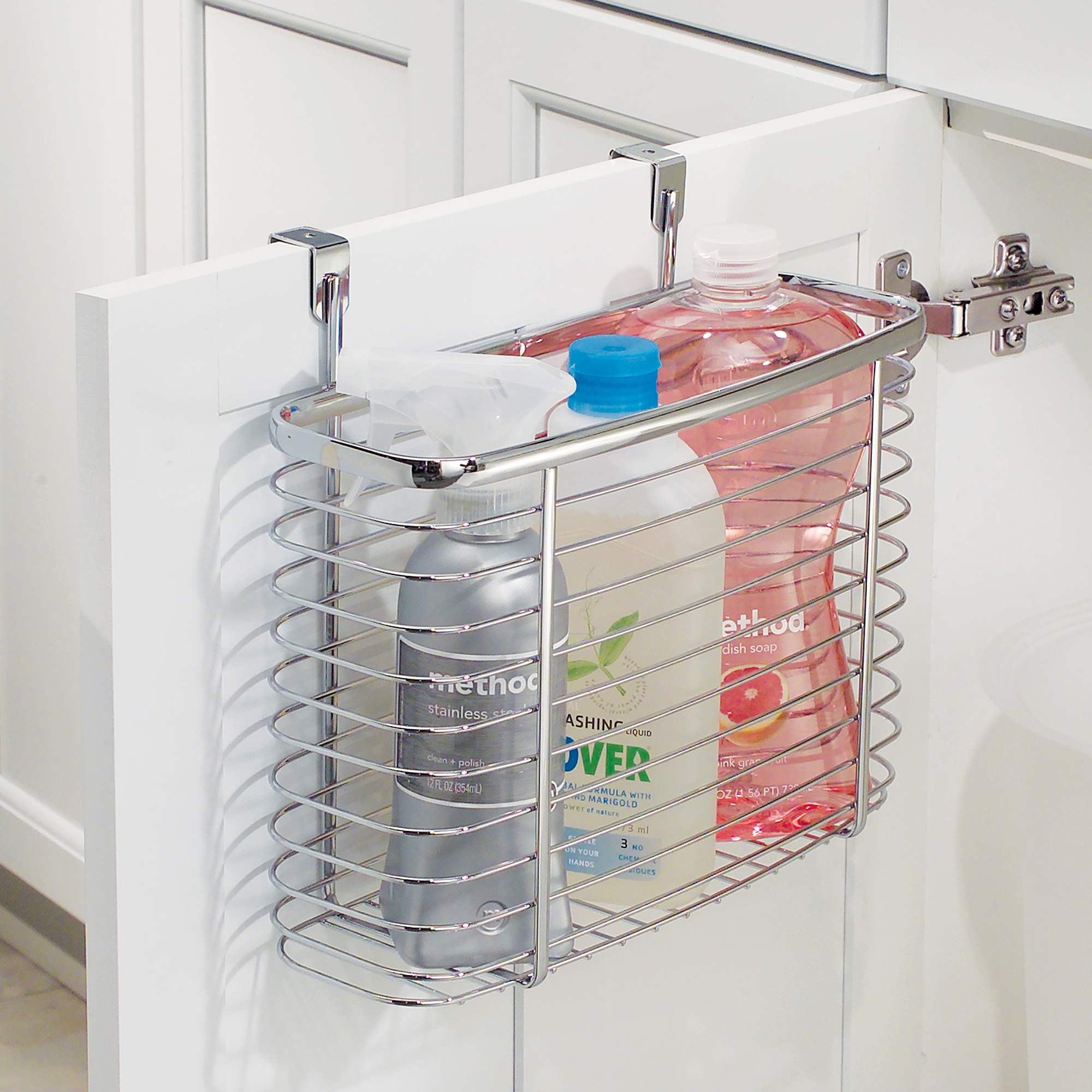 InterDesign Axis Over the Cabinet Kitchen Storage Organizer Basket for Aluminum Foil, Sandwich Bags, Cleaning Supplies, Medium, Chrome