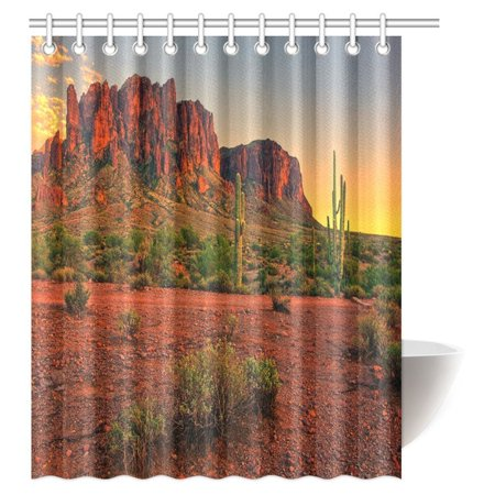 Mypop Saguaro Cactus Shower Curtain Colorful Sunset View