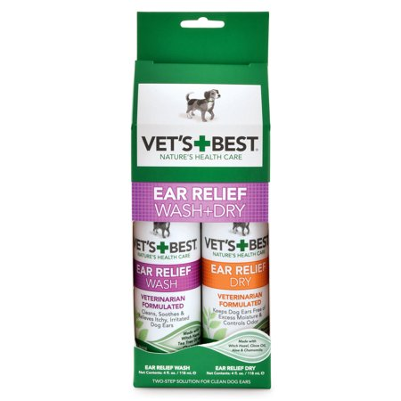 Vet's Best Ear Relief Wash & Dry Combo Kit (Best Products For Rosacea Relief)