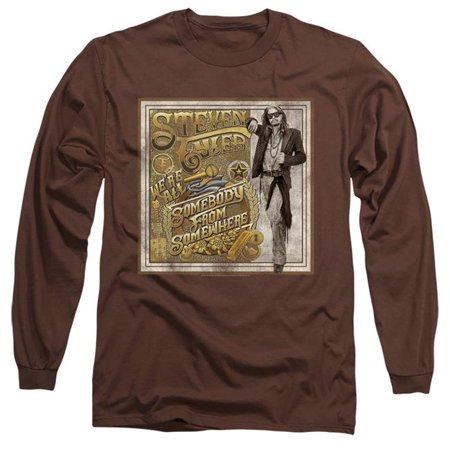 Steven Tyler Shirt (Trevco Sportswear BAND401-AL-3 Steven Tyler & Somebody From Somewhere-Long Sleeve Adult 18-1 T-Shirt, Coffee -)