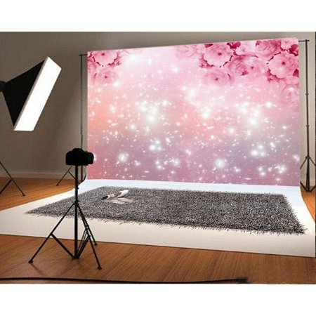 GreenDecor Polyster 7x5ft Photography Backdrop Valentine's Day Cherry Blossom Pink Flowers Bokeh Halos Glitter Sequins Romantic Wedding Background Sweet Baby Kids Lover Photo Studio Props