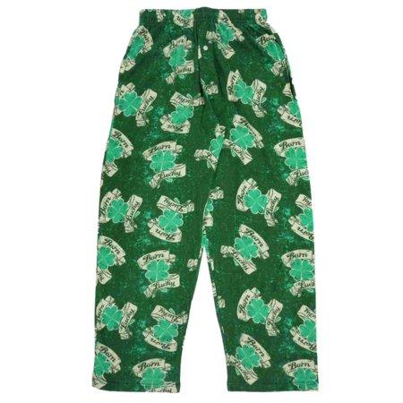 4e9dc1cf6 Fun Boxers - Fun Boxers Mens Green Born Lucky Sleep Pants 4 Leaf Clover Pajama  Bottoms - Walmart.com