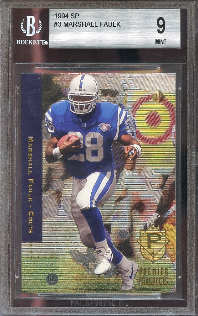 1994 Sp 3 Marshall Faulk Indianapolis Colts Rookie Card Bgs 9 95 85 9 9