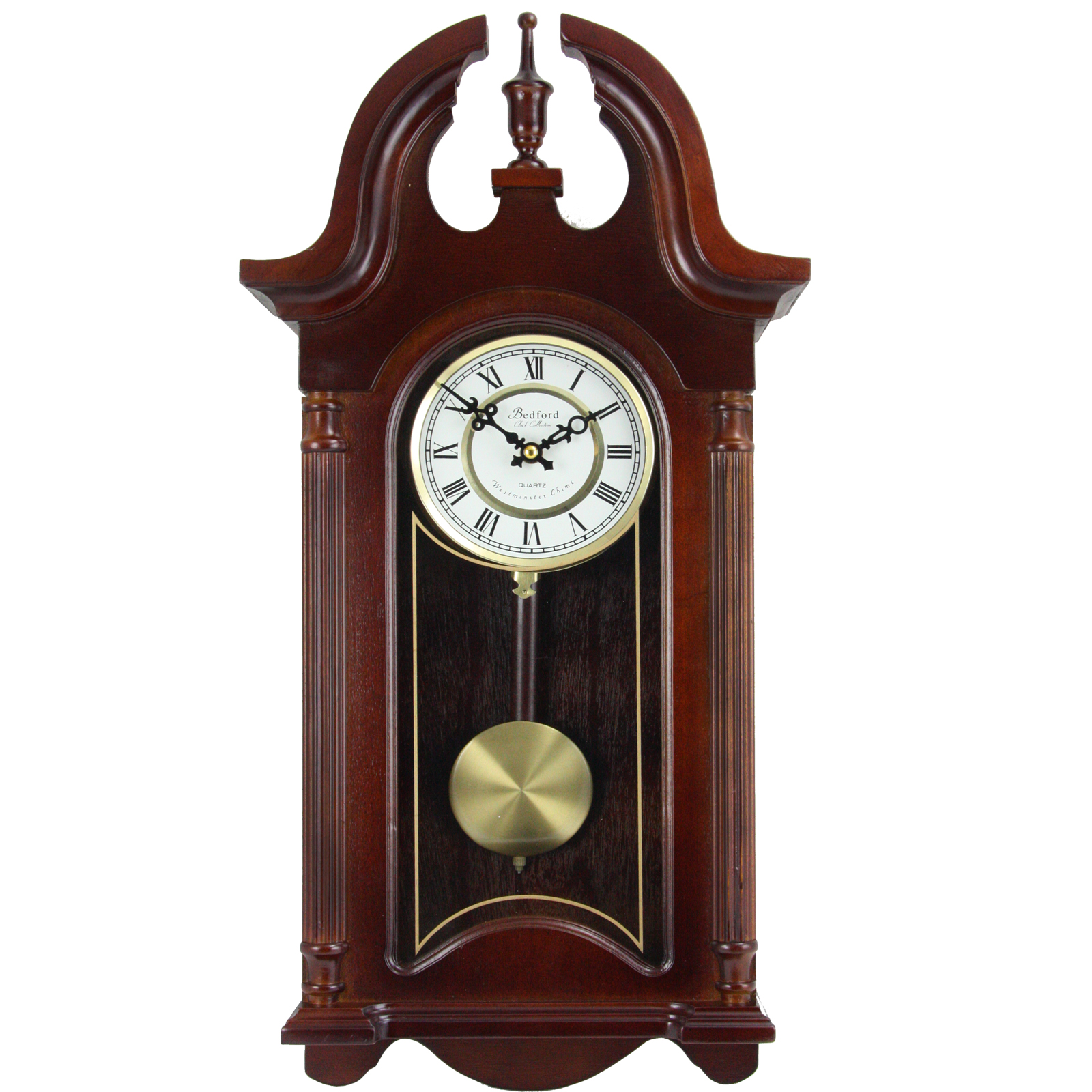 "Click here to buy Bedford Clock Collection 26.5"" Colonial Mahogany Cherry Oak Finish Chiming Wall Clock... by Supplier Generic."
