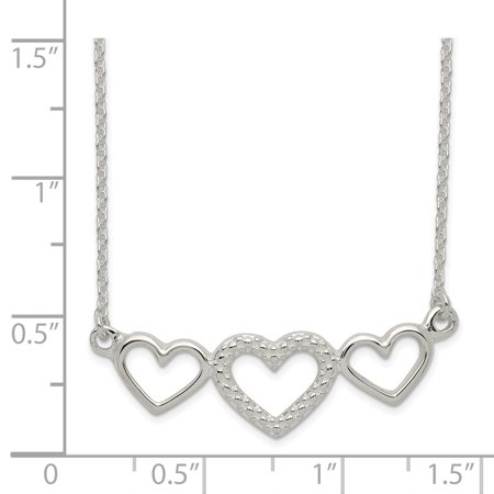 925 Sterling Silver Polished, Textured Three Heart Necklace - image 1 de 2