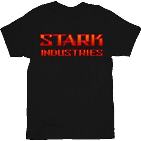 Iron Man Bevel Red Stark Industries Black Adult T-Shirt ()
