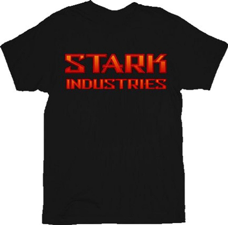 Iron Man Bevel Red Stark Industries Black Adult T-Shirt