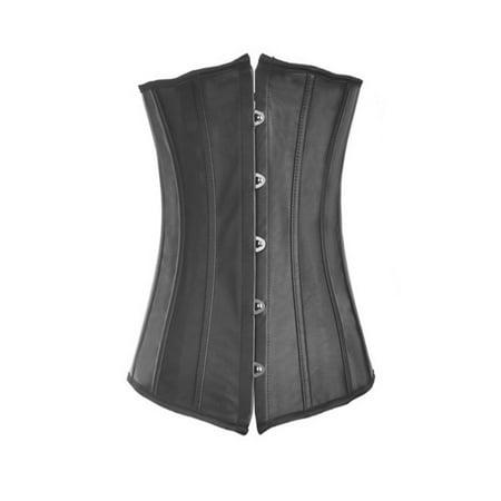 4e03c3ca385 MUKA - Women s Boned Plus Size Overbust   Underbust Corset Bustier Waist  Cincher-Black Faux Leather 63-L - Walmart.com