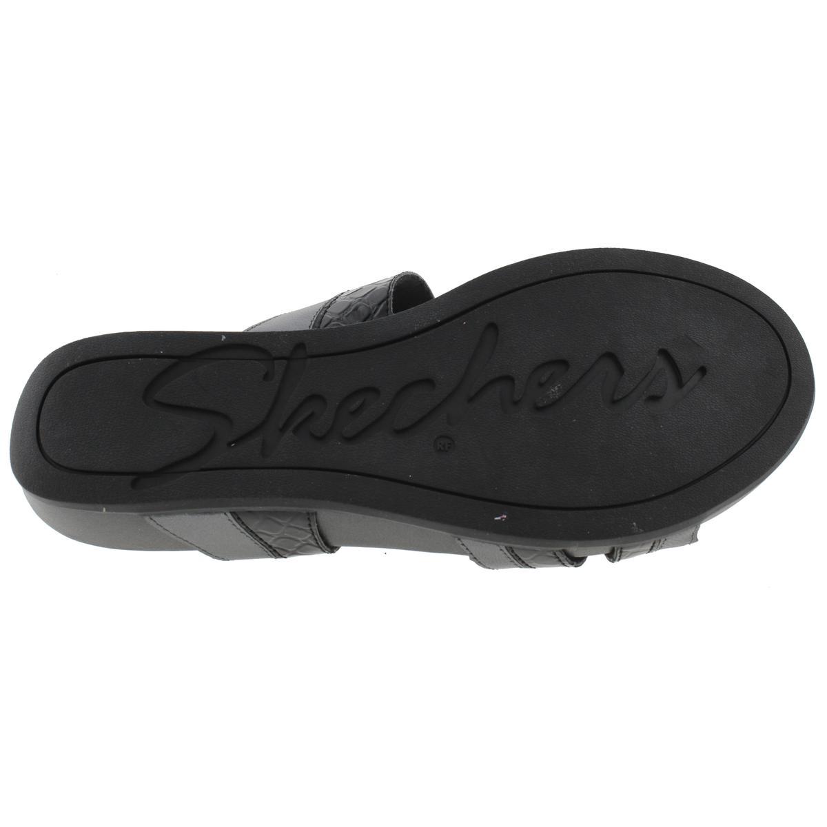 Skechers Womens Palm Springs Wedge Leather Contrast Trim Wedge Springs Sandals 24574d