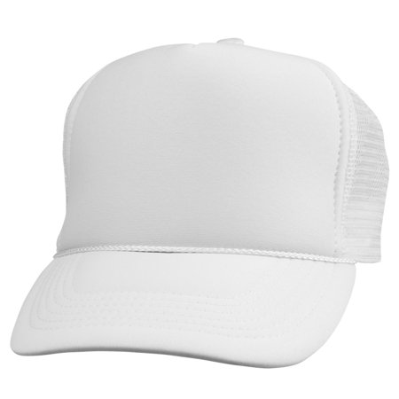 fabc8027c7e DALIX Trucker Cap Mesh Hat with Solid Colors and Adjustable Strap and Small  Braid in White