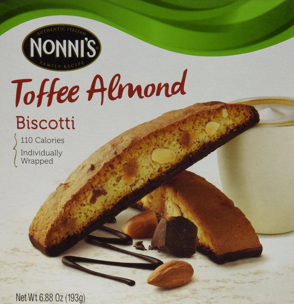 12 PACKS : Nonni's Toffee Almond Biscotti Cookies 6.88 oz by