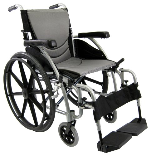 Karman Ergonomic Wheelchair in 18 inch Seat and Mag Wheels, Pearl Silver Frame