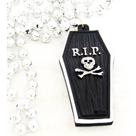 RIP Black Coffin Halloween Mardi Gras Bourbon Street Mardi Gras Beads New Orleans Cajun Creole Party, Genuine Authentic Mardi Gras Theme Beads- By Mardi Gras World Ship from US - Theme From Halloween Tab