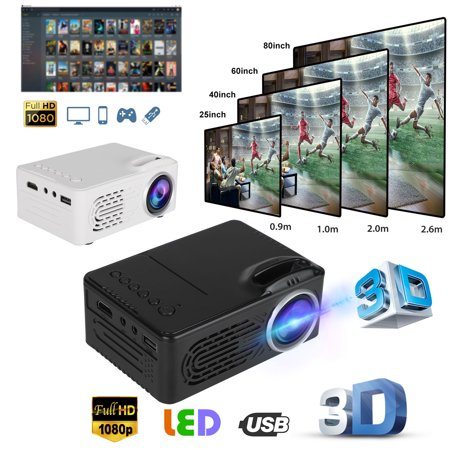 Mini Projector, 1080P Supported Portable Video Projector - 400Lux/80