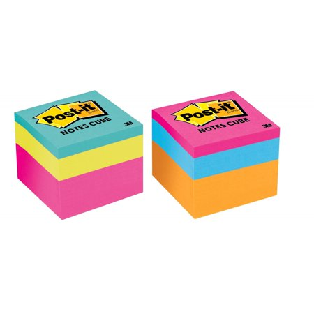 Post-it Notes Cube, 1 7/8 in x 1 7/8 in, Bright Colors, 1 Cube/Pack, 400 Sheets/Cube