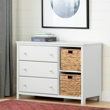 South Shore Cotton Candy 3-Drawer Dresser with Baskets, White ()
