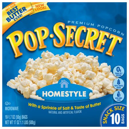 Pop Secret Homestyle Microwave Popcorn Snack Size 1 7 Oz Bags 10 Count