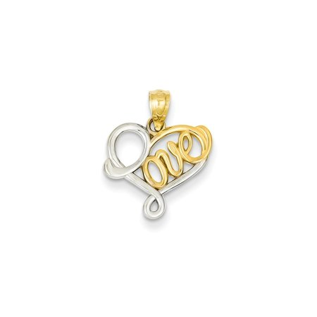 14K Yellow Gold and Rhodium-Plating Love Pendant (19mm x 15mm)
