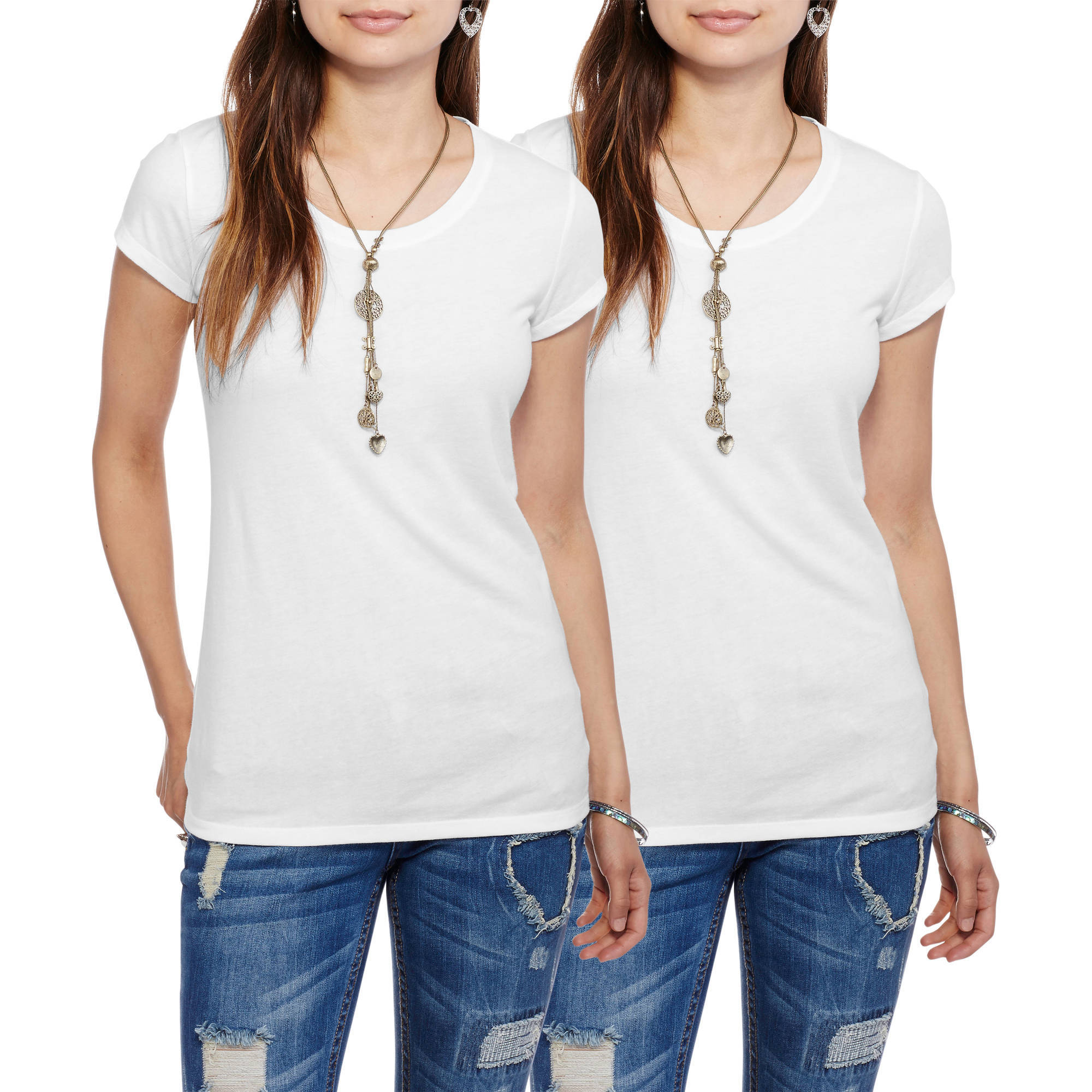 No Boundaries Juniors Essential Scoopneck Tee, 2-Pack Value Bundle