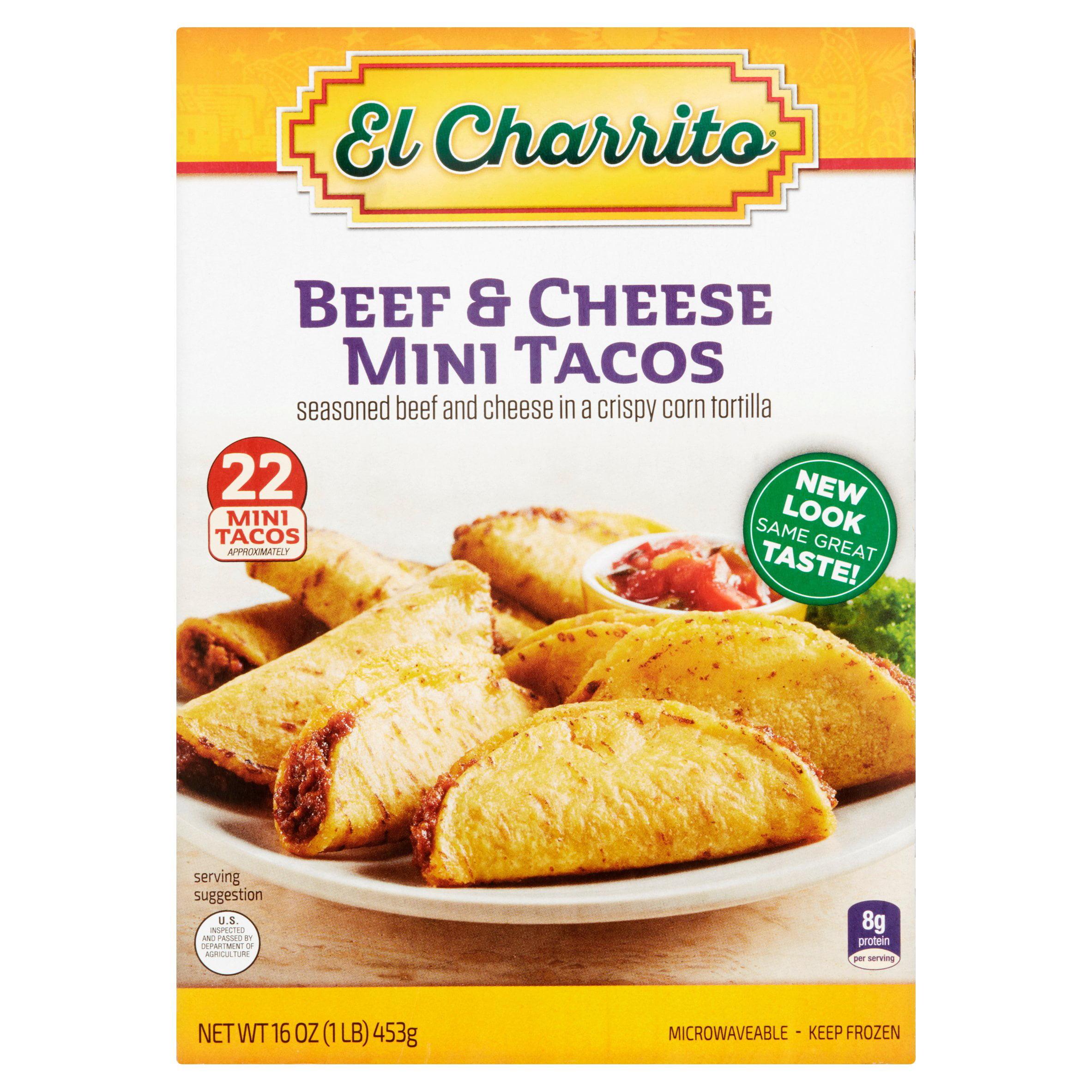 El Charrito Beef & Cheese Mini Tacos, 22 count, 16 oz