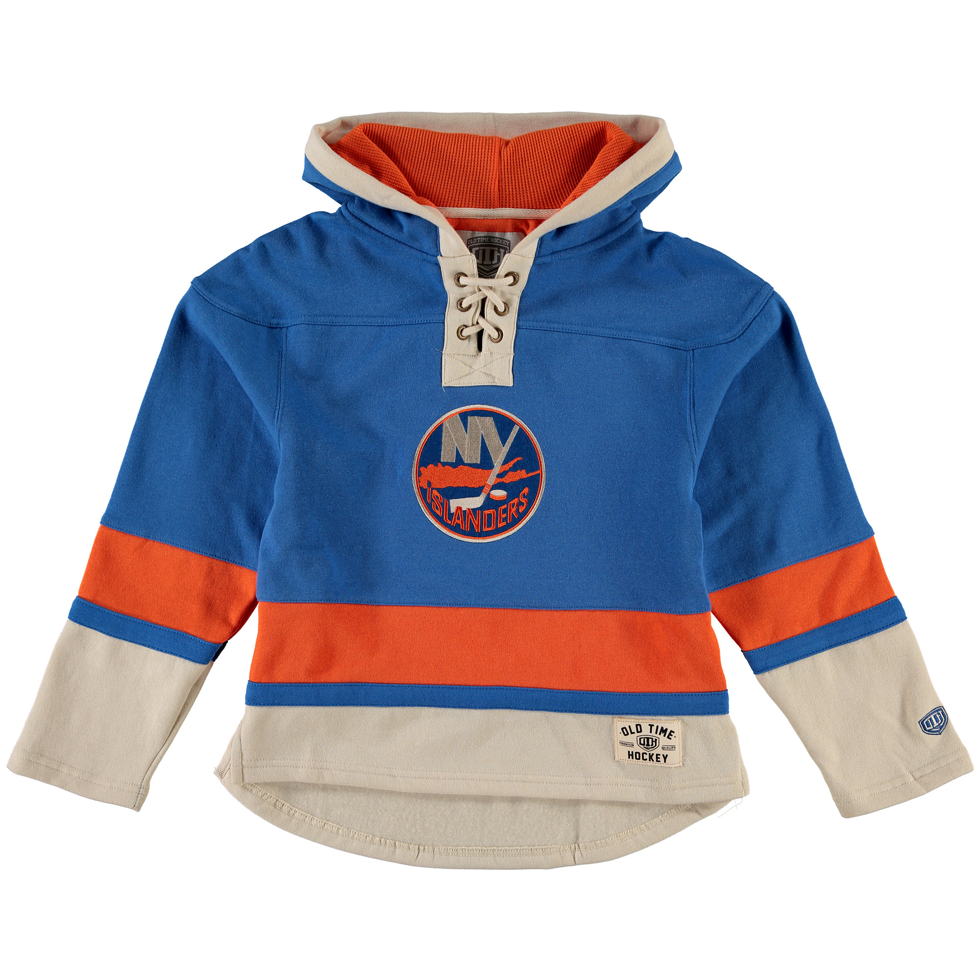 New York Islanders Old Time Hockey Youth Current Lacer Heavyweight Hoodie Royal by Old Time Hockey