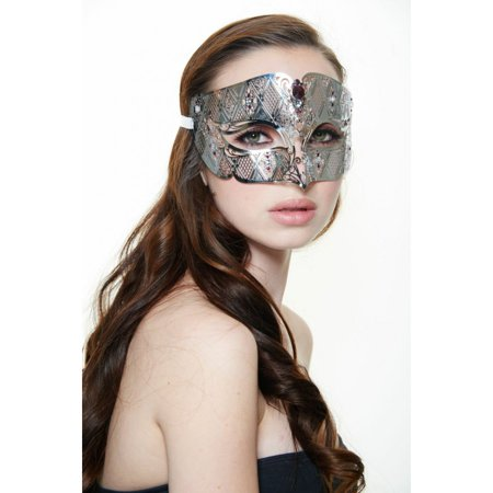 KAYSO INC BD008PUSL LUXURY ROMAN GUARD FILIGREE LASER CUT METAL MASK (SILVER WITH CLEAR RHINESTONES)