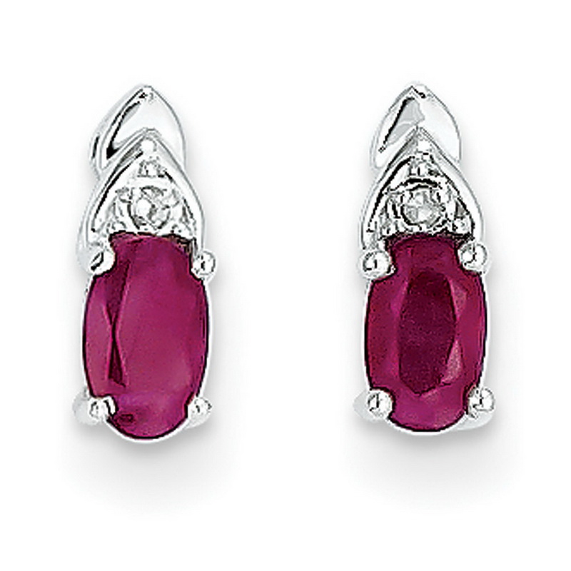 14k White Gold Ruby Diamond Earring