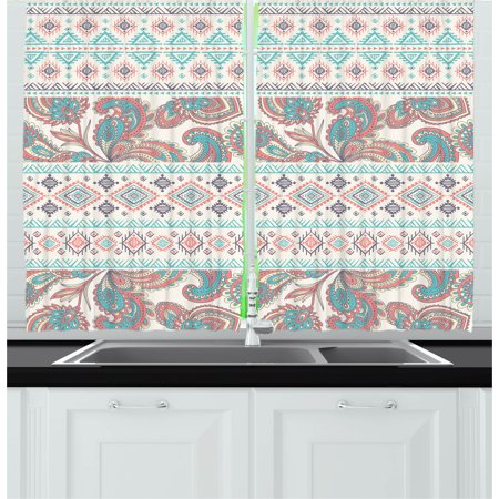 - Tribal Curtains 2 Panels Set, Paisley Patterns in Native Aztec in Mixed Pattern Floral Ethnic Design, Window Drapes for Living Room Bedroom, 55W X 39L Inches, Cream Aqua and Coral, by Ambesonne
