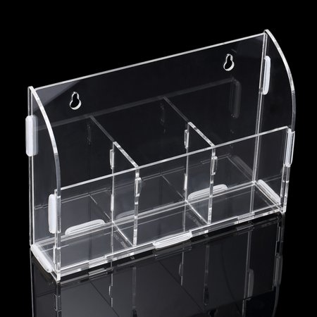 Acrylic Remote Control Storage Box Sundries Holder Wall Mounted Bin Storage Rack Container w/3 Lattices for Home Office - image 6 de 6