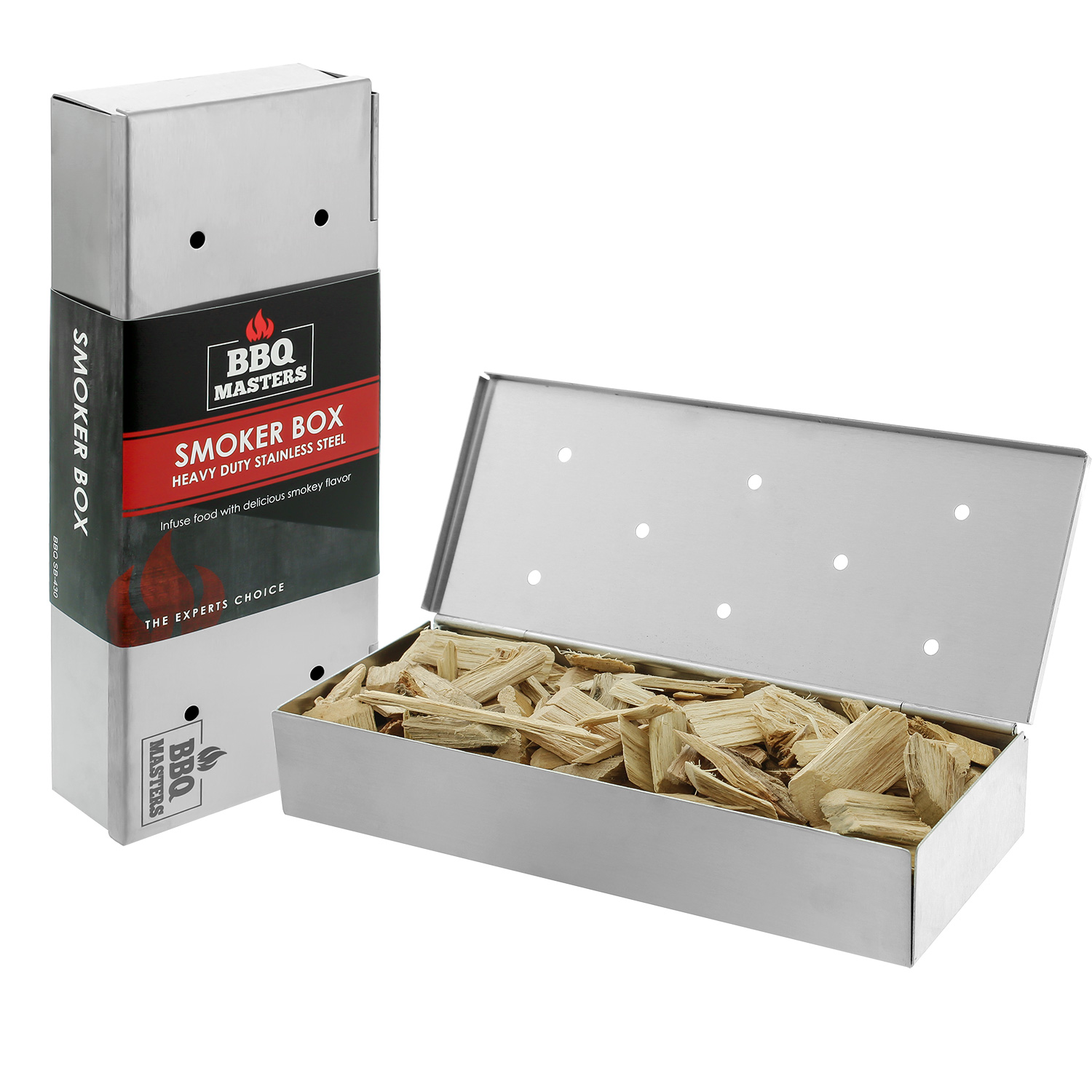 BBQ Masters Smoker Box to Add Smokey Flavors to Barbecue Meats - Stainless Steel Wood Chip Smoking Box With Hinged Lid