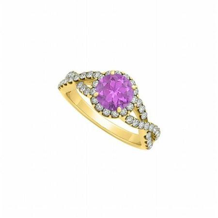 Fine Jewelry Vault UBNR84630AGVYCZAM Amethyst With CZ April Birthstone Criss Cross Shank Halo 18K Yellow Gold Vermeil Engagement Ring, 46 (18k Amethyst Cross)