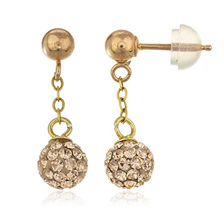 Real 14k 6mm Dangling Preciosa Champagne Crystals Stud Earrings with Silicone Pushbacks
