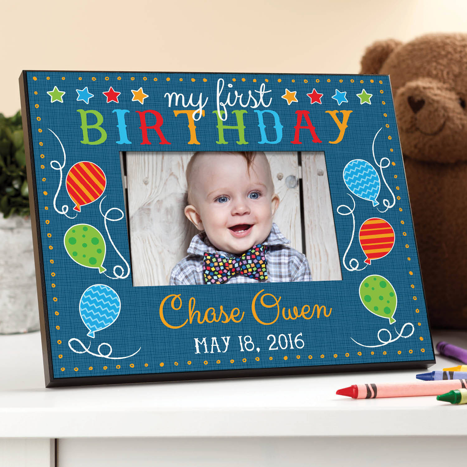 My First Birthday Personalized Frame, Pink or Blue