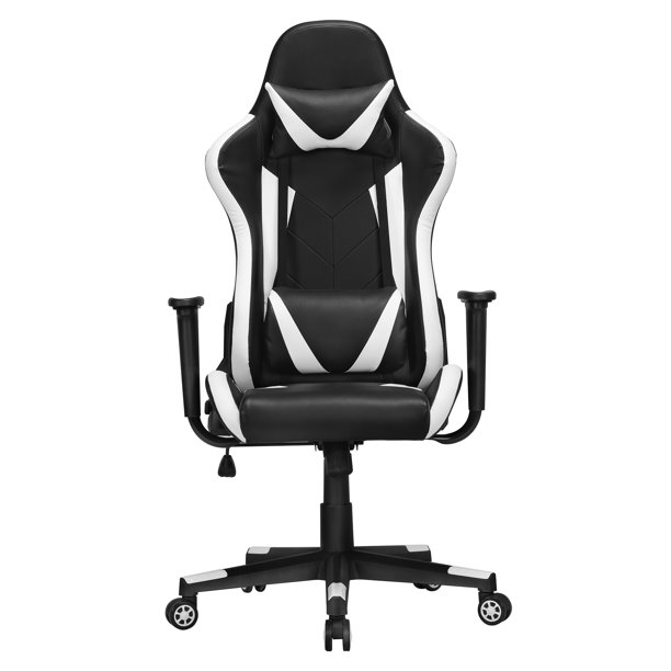 Yaheetech Executive Adjustable High Back Faux Leather Swivel Gaming Chair, Balck/White