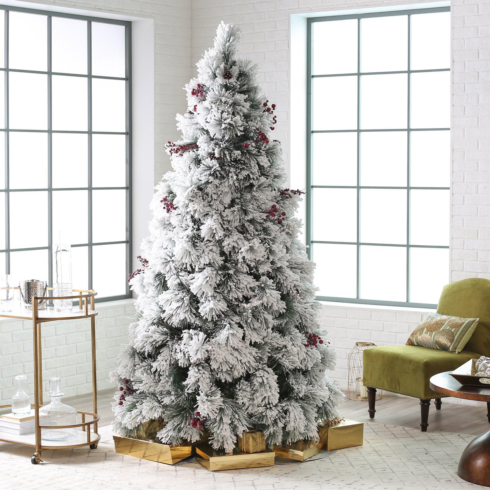 Belham Living Flocked Pine Needle Pre-Lit Christmas Tree with ...