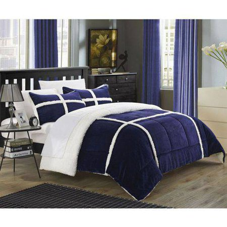 Walmart Credit Card Review >> Chiron 7-Piece Sherpa Lined Plush Microsuede Comforter Set