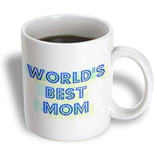3dRose Blue and Green Worlds Best Mom - Lovable Art, Ceramic Mug, 15-ounce - Worlds Best Mom