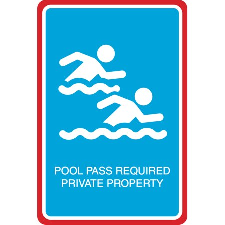 - Pool Pass Required Private Property Print Swimmers In Water Picture Pool Hot Tub Outdoor Sign