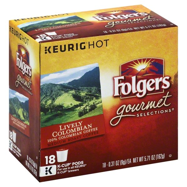 Folgers 100% Colombian Coffee, Medium Roast, K-Cup Pods for Keurig K-Cup Brewers