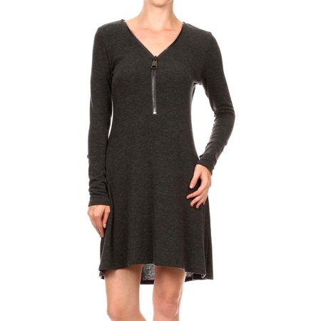 - Charcoal Grey Long Sleeve Flared Mini Dress with V-neck Zipper Detail, Medium