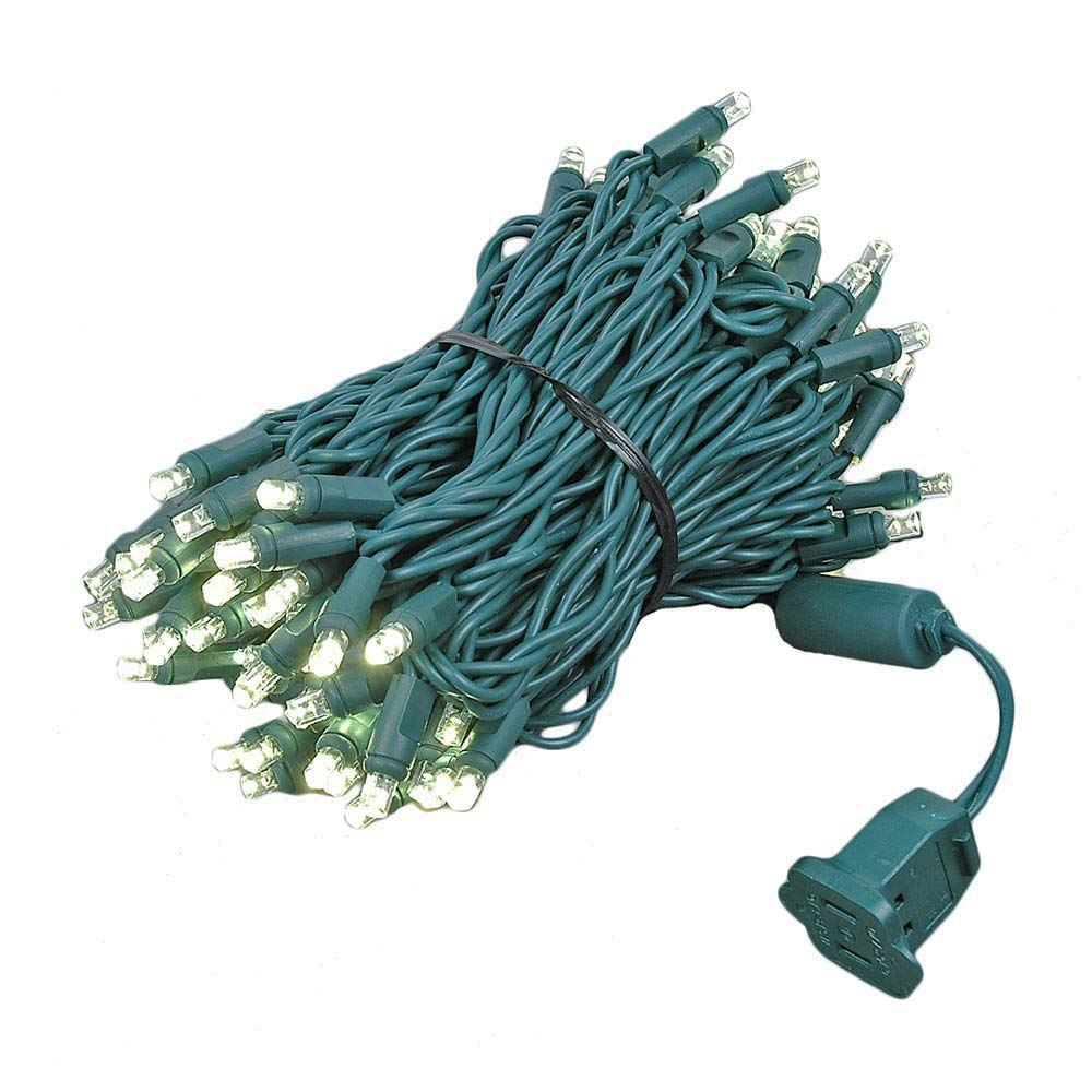 Novelty Lights 100 Light LED Christmas Mini Light Set, Outdoor Lighting Party Patio String Lights, Green Wire, 34 Feet