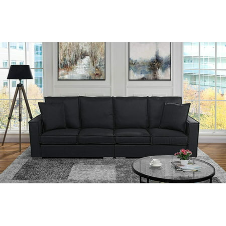 4 Sofa - Extra Large Living Room Linen Fabric Sofa, 4 Seat Couch (Black)